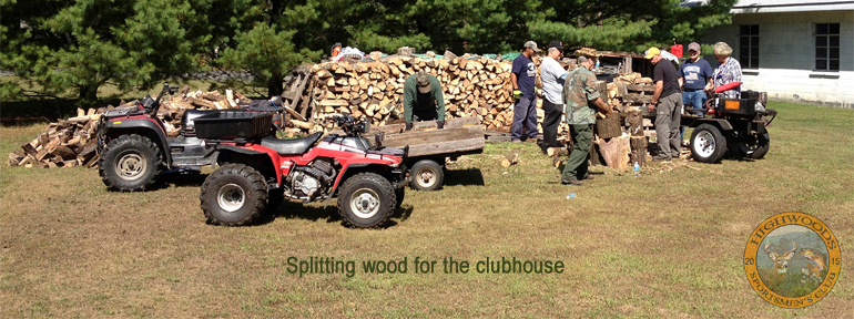 Splitting wood for the clubhouse